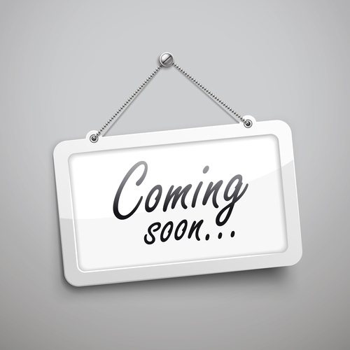 coming soon hanging sign, 3D illustration isolated on grey wall